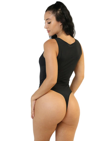 Black Zipper Thong Bodysuit