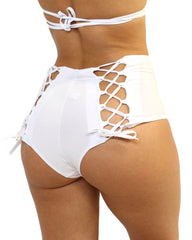 White Lace Back High Waist Bottoms