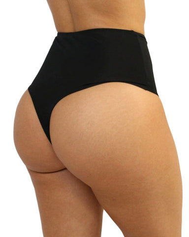 Black High Waist Cheeky Bottoms