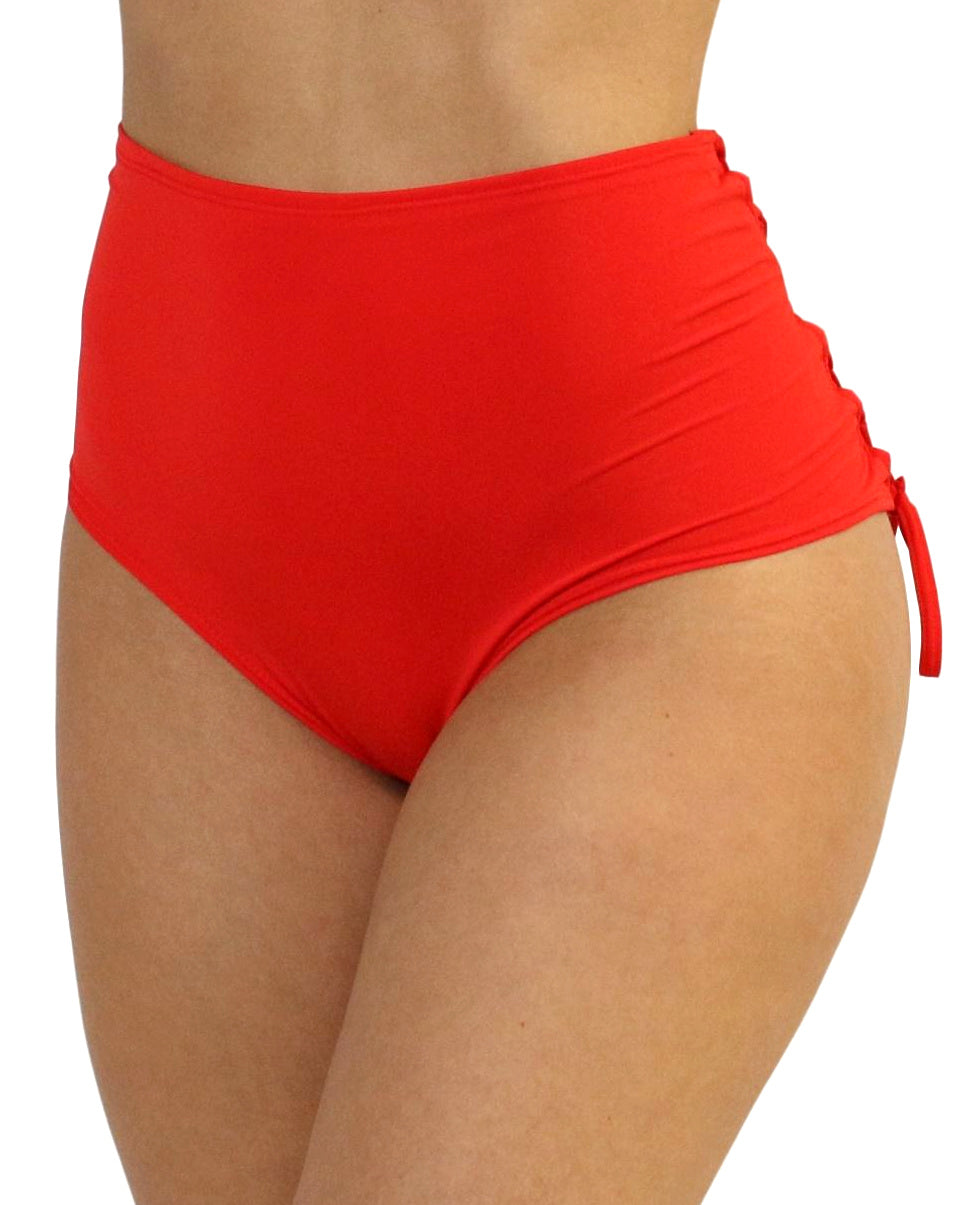 Red Lace Back High Waist Bottoms