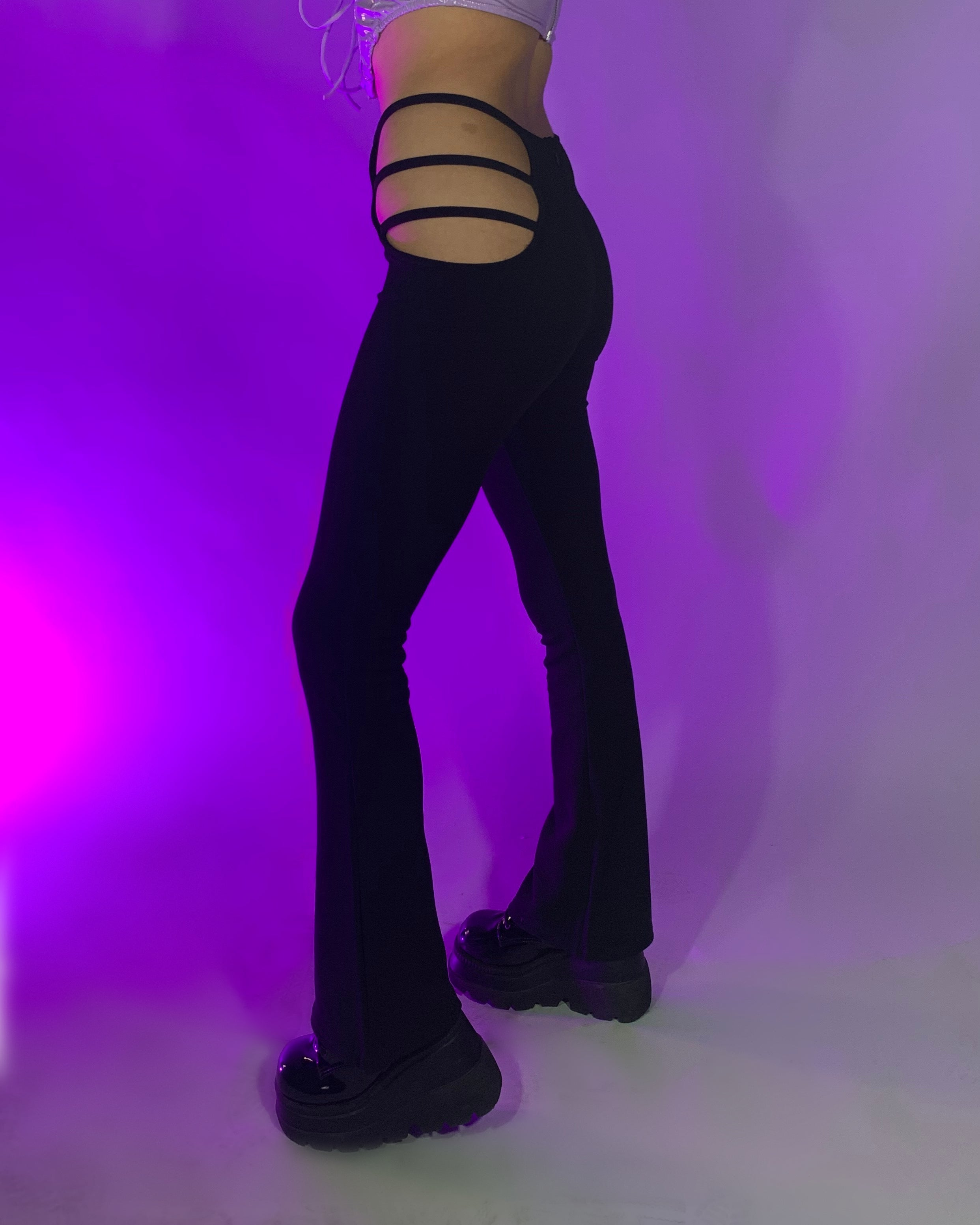 Maddy Strapped Cutout Black Bootcut Bottoms