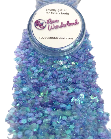 Iridescent Blue Mermaid Chunk Body and Face Festival Glitter (20 or 30 Grams)