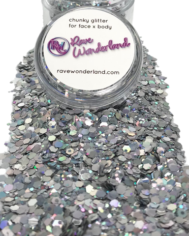 Silver Chunk Body and Face Festival Glitter (20 or 30 Grams)