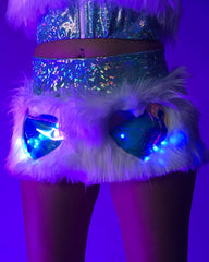 Light-Up White Fur Blue and White Lights Heart Window Skirt