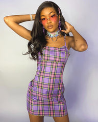 Lavender Plaid Spaghetti Strap Dress
