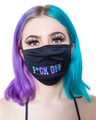 F*ck Off Holographic Black Surgical Face Mask