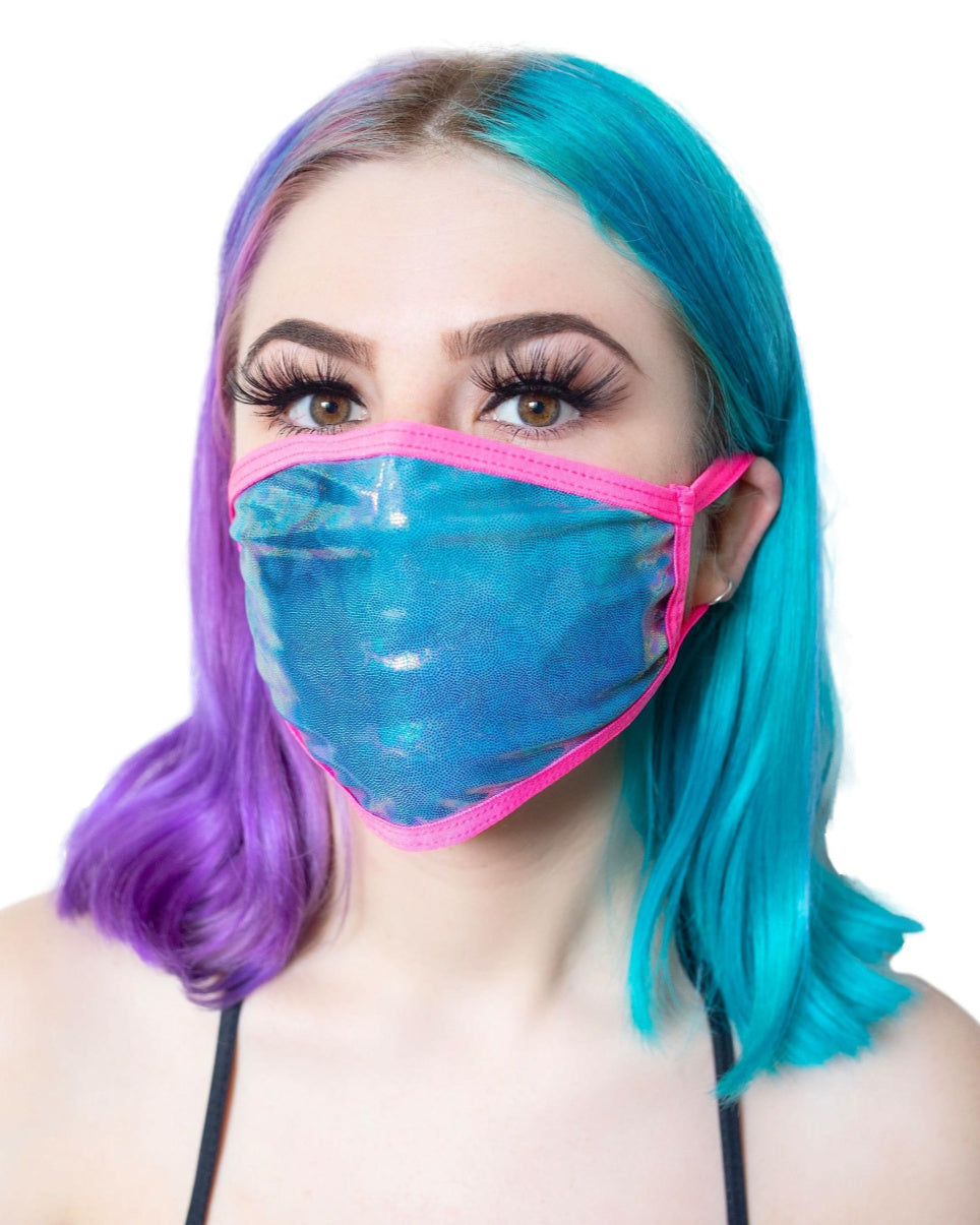 Holographic Oil Slick UV Pink Surgical Face Mask