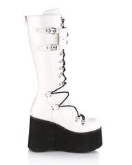 Demonia White D-Ring Platform Knee High Boots