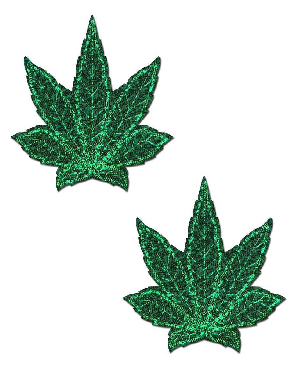 Indica Pot Leaf: Glitter Green Weed Nipple Pasties