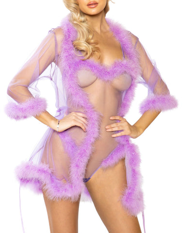 Lilac Love Short Marabou Robe