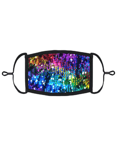 Dark Rainbow Flip Sequin Mask with Filter