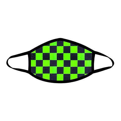 Talladega Neon Checkered Face Mask