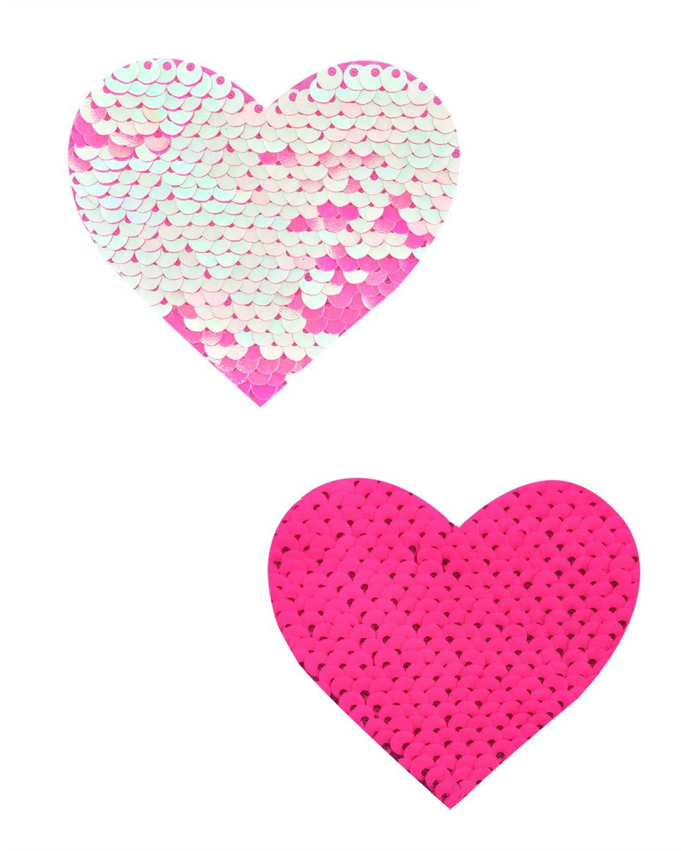 Aurora Light Pink & Pink Reversible Sequin Heart Pasties -  rave wear, rave outfits, edc, booty shorts
