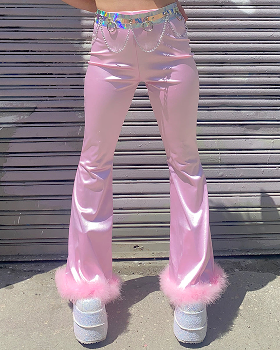 Pink Satin and Faux Fur Bell Bottom Pants