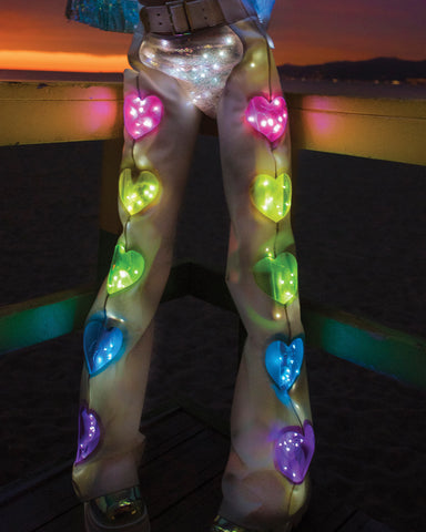 Light-Up White Rainbow White Lights Vinyl Heart Chaps