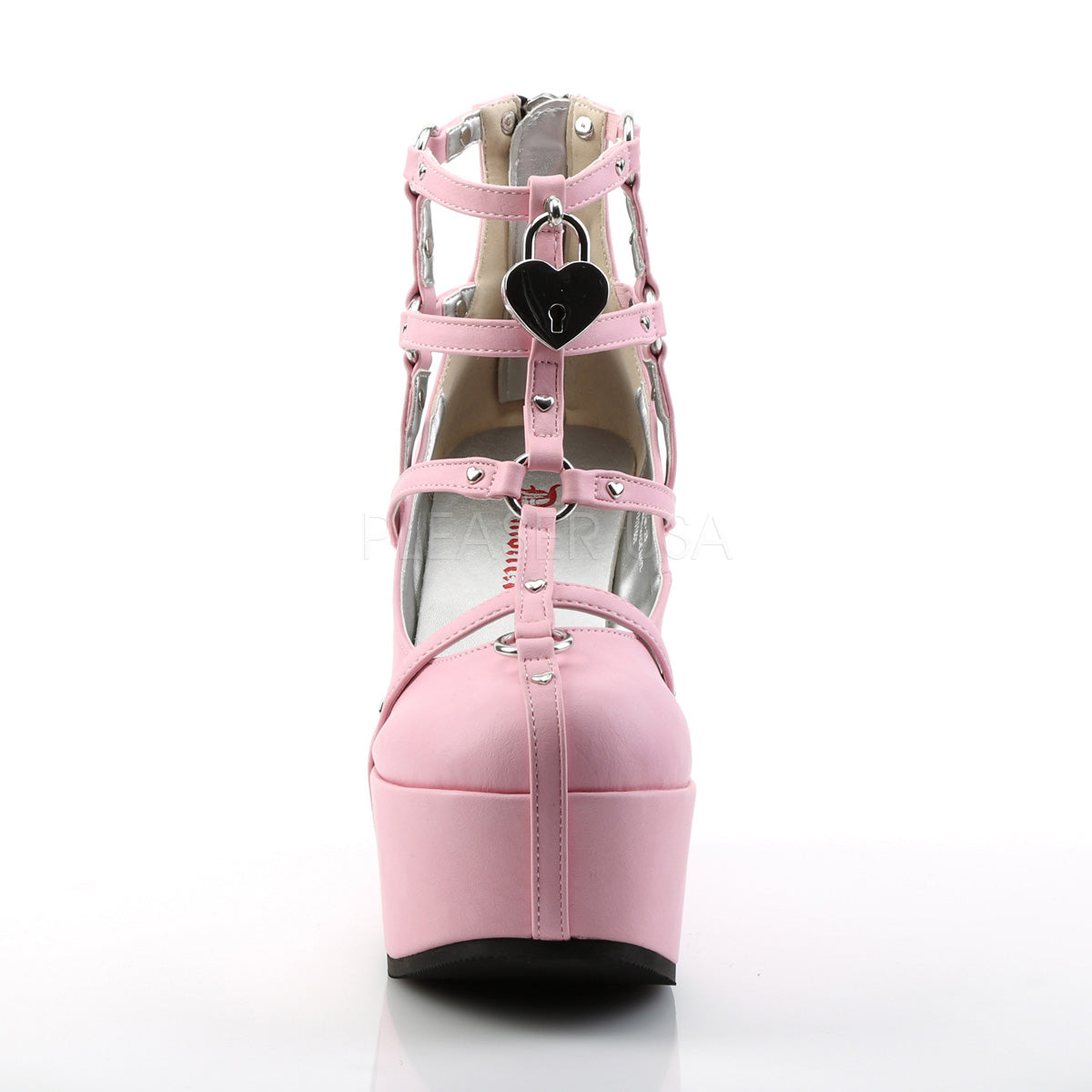 Pink Vegan Leather Cage Bootie Rave Shoes with Heart-Locket Detail -  rave wear, rave outfits, edc, booty shorts