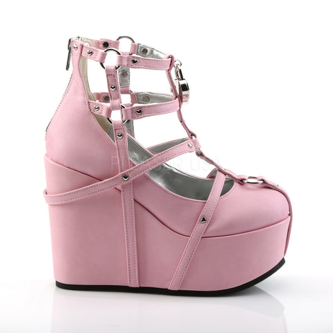Pink Vegan Leather Cage Bootie Rave Shoes with Heart-Locket Detail