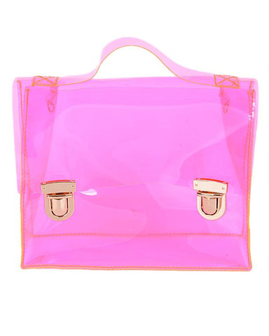 Neon Pink Clear Clutch