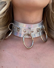 Lead Me On Holographic Choker & Leash 2pc Set
