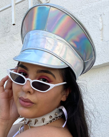 Silver Rainbow Captain Hat