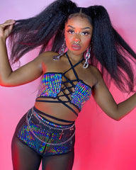Galactic Prism Lace Up Rave Crop Top