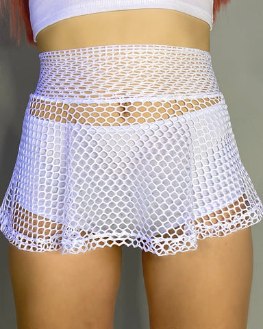 White Fishnet Skater Skirt