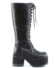 Demonia Platform Knee Boot with Full Inner Side Zipper