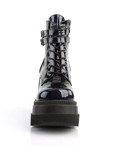 Demonia Holographic Black Stacked Platform Ankle Boots