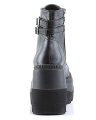 Demonia Matte Black Stacked Platform Boots