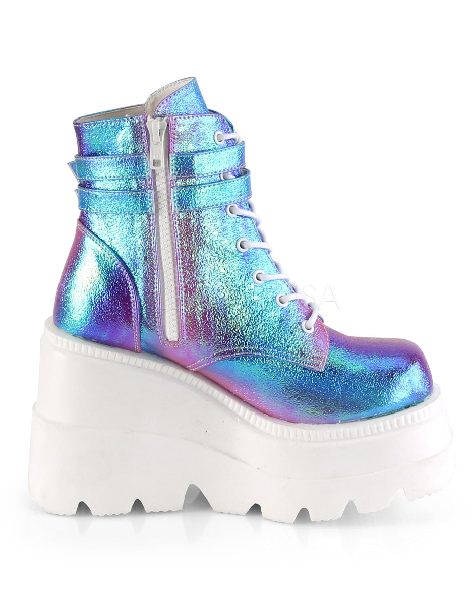 Demonia Purple Shifting Glitter Front Ankle Boot