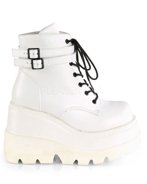 Demonia White Stacked Wedge Platform Ankle Boots