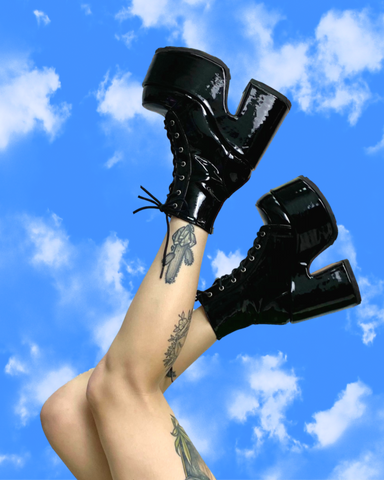 Demonia Chunky Patent Leather Lace-Up Platform Ankle Boots
