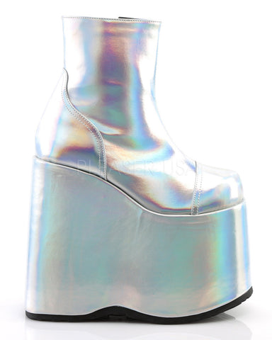Demonia Holographic Platform Ankle Boots