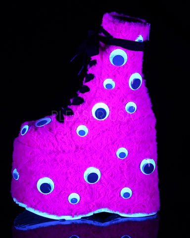 Demonia Pink Fur Googly Eye Platform Boots