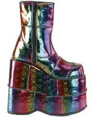 Demonia Rainbow Hologram Hearts Ankle Boot