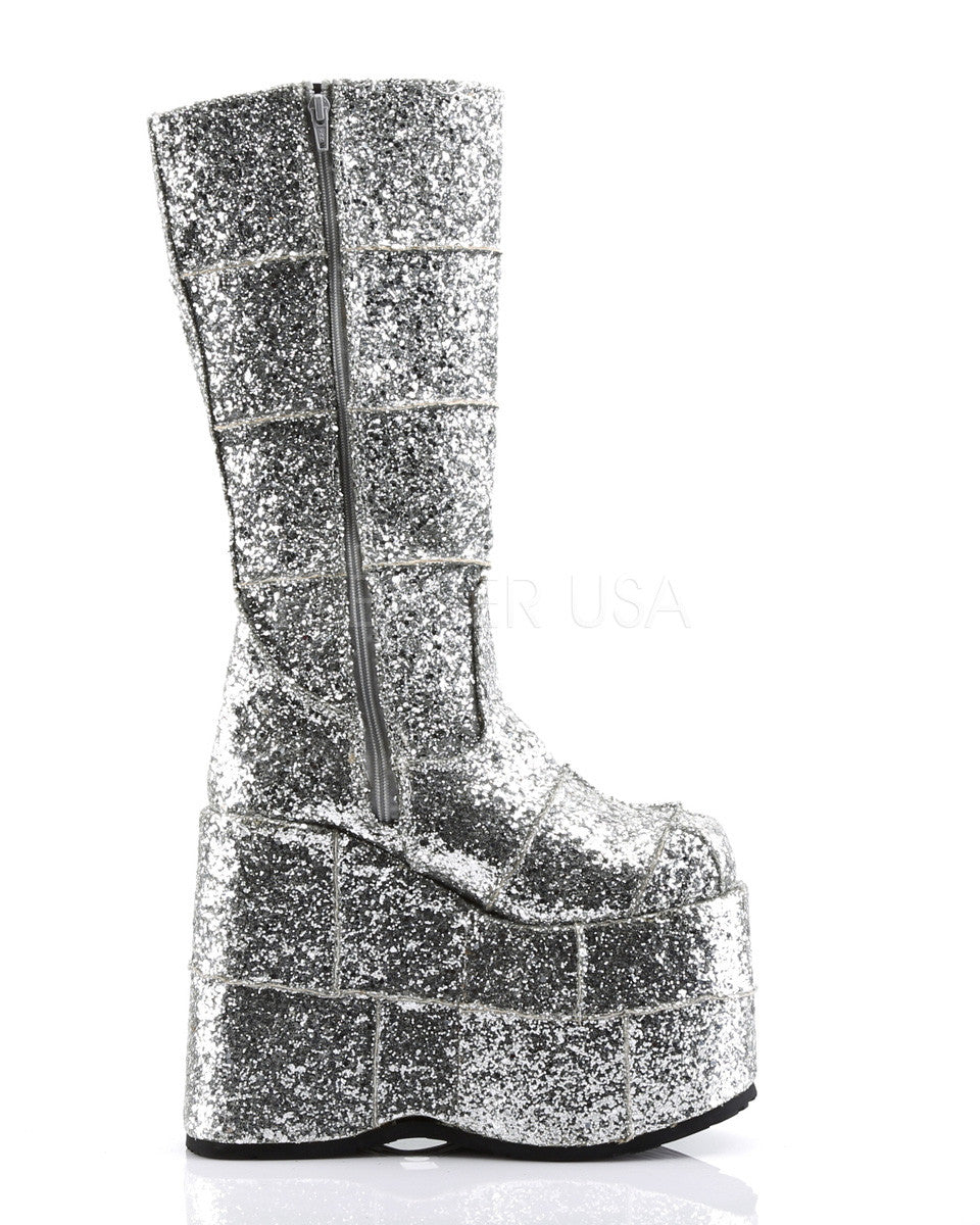 PREORDER: Silver Glitter Space Platform Boots