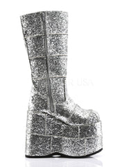 PREORDER: Silver Glitter Space Platform Boots -  rave wear, rave outfits, edc, booty shorts