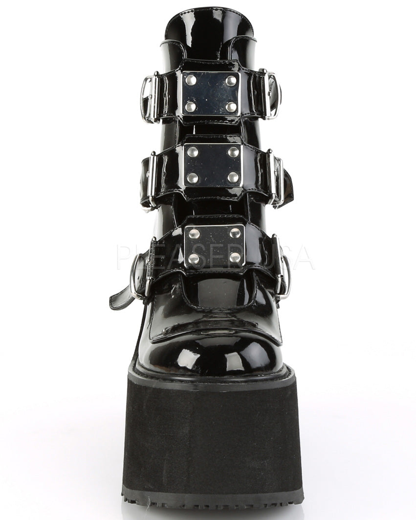 Demonia Leather Platform Ankle Boots with Chrome-Plated Straps