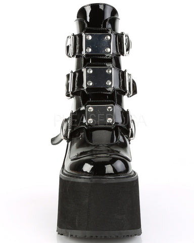 Leather Platform Ankle Boots with Chrome-Plated Straps