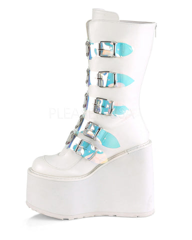 White Platform Mid-Calf Boots