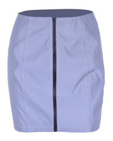 Flashblinded Front-Zipper Reflective Mini Skirt