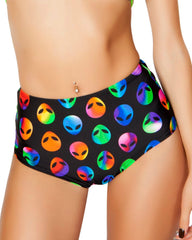 Alien High-Waisted Scrunch Booty Shorts -  rave wear, rave outfits, edc, booty shorts