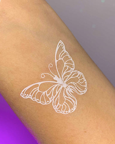Soft Butterflies White Temporary Tattoo