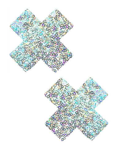 Silver Sequin Cross Pasties -  rave wear, rave outfits, edc, booty shorts