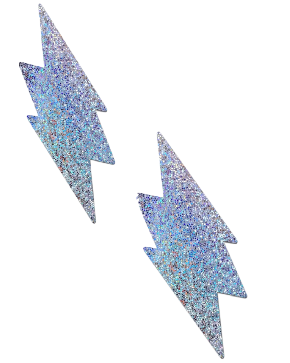 Silver Glitter Lightning Bolt Pasties