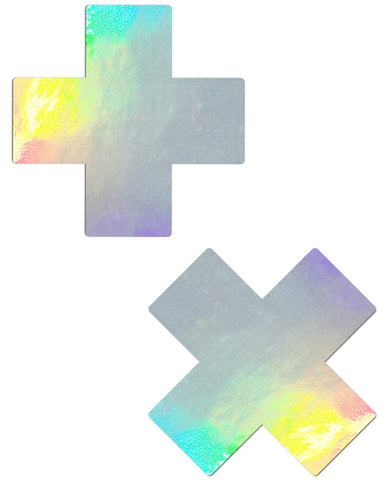 PLUS X: HOLOGRAPHIC CROSS NIPPLE PASTIES -  rave wear, rave outfits, edc, booty shorts