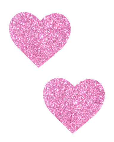 Pink Glitter Heart Pasties -  rave wear, rave outfits, edc, booty shorts