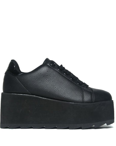 YRU Lala Black Platform Rave Shoes