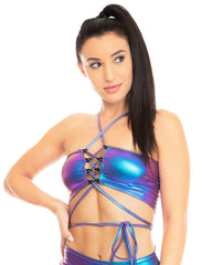 Mystic Neptune Back Lace Up Rave Crop Top