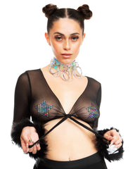 Bubble-icious Sheer Fur Rave Tie Front Top